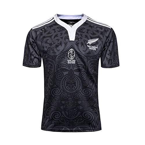 Hombre Rugby Jersey,2019 New Zealand Team Copa Mundial Polo Shirt Casual Redondo CháNdales Respirable Camiseta De Fútbol Polo Shirt (S-XXXL) XXXL
