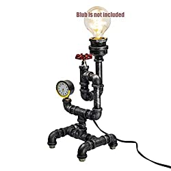 Steam Punk Lamp with Dimmer, Dimmable Loft Style Industrial Vintage Antique Style Light, Iron Piping Aged Rustic Metal Desk Lamp, Y-NutSnider QTF-SJ03