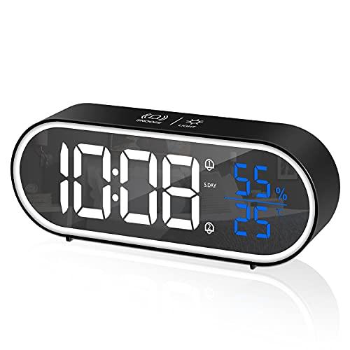 CHEREEKI Réveil Numérique, Horloge Numérique LED Horloge Digitale Réveil Aver Température/Snooze/ 2 Alarme (Noir C)