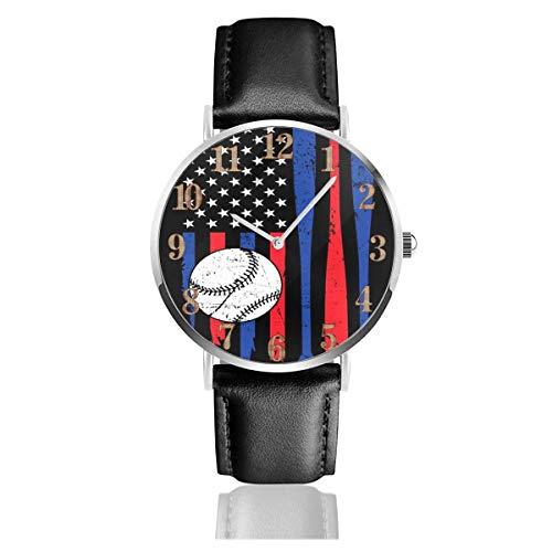 Reloj de Pulsera Béisbol Bandera Estadounidense EE. UU. Durable PU Correa de Cuero Relojes de Negocios de Cuarzo Reloj de Pulsera Informal Unisex