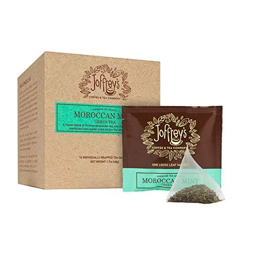 Joffrey's Coffee - Moroccan Mint Tea, Green Tea, Mint Tea, Chinese Gunpowder Tea & Mint Blend, Earthy Notes, Contains Caffeine, Hand-Blended Tea, Kosher (16 Individual Tea Sachets, 1.7 oz Box)