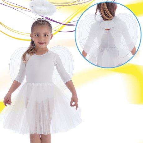 Set d'ange blanc enfant ailes auréole tutu enfant [6705]