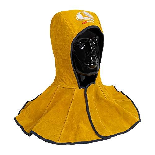 YESWELDER Golden Cowhide Split Leather Welding Hood with Neck Shoulder Drape - Welding Caps