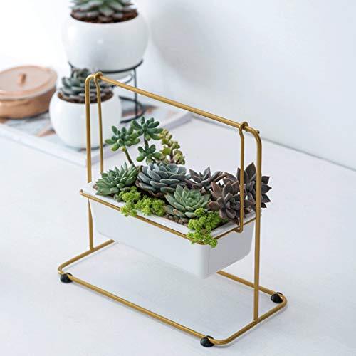 Chenweiwei Bloemstandaard (2-delige verpakking) bloemenlijst Nordic modern, eenvoudige stijl, afneembare keramische bloempot voor vetplanten, bedroon, woonkamer, leeskamer