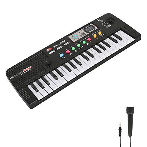 TWFRIC Kids Piano Keyboard 37 Keys Piano for Kids Music Piano Keyboard Multifunction Keyboard Teaching Toys with Microphone MP3 Music Function for Boys Girls Children