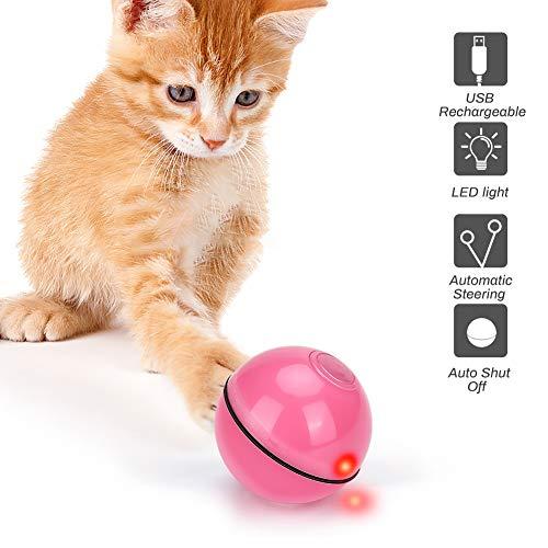 E-More Katzenspielzeug Ball Elektrische Rotierende Katze Ball Automatische Rolling Katzenkugeln Wiederaufladbare Haustier Übungsbälle Interaktives Spielzeug für Kätzchen Welpen