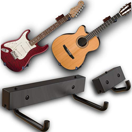 RawRock Horizontaler Gitarrenhalter, neigbar, zur Präsentation Ihrer Gitarre, Ukulele, Bass, E-Gitarre, Banjo in abgeschrägtem Winkel seitlich, zum Aufhängen für einfachen Zugang Black Stain