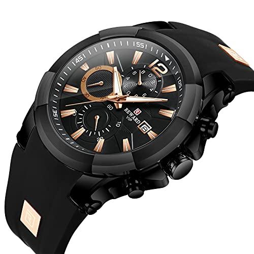 ZFAYFMA Reloj impermeable para hombre, reloj de cuarzo, calendario luminoso, correa de silicona multifunción cronógrafo, reloj de pulsera de negocios para hombre negro