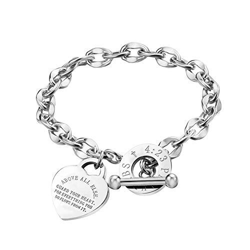 FFJGO 14K Rose Gold Stainless Steel Christian Cross Bible Verse Proverbs 4:23 Link Bracelet (Silver)