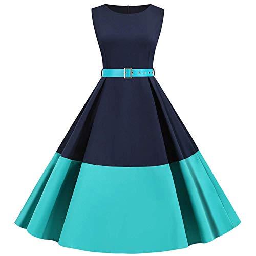 Robe à 'Audrey Hepburn' - Classique - Vintage - Rétro 50's 60's - Style Robe Rockabilly - Pin-up - Swing - Manches Longues - Style des années 50 - Robe Swing plissé pour Cocktail Tea Party (Verte, M)