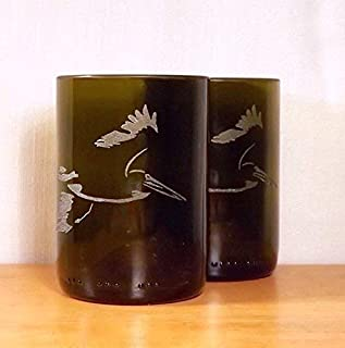 Set of 2 Pelican Wine Bottle Glasses