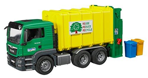 bruder 03764 Fahrzeug TGS M&uumlll-LKW Hecklader gr&uumln/gelb, bunt