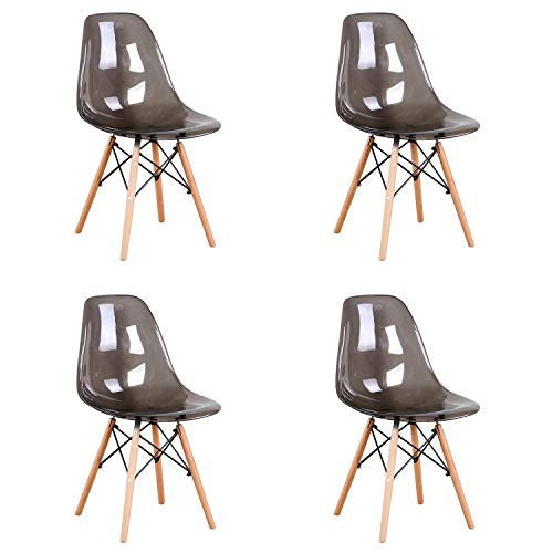 Sim Luxury Lot de 4 Chaises Transparentes en Acrylique avec Pieds en Bois de Hêtre pour Cuisine, Salon, Salle à Manger, Salle de Réunion, etc.