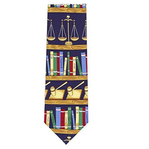 Cravate fantaisie en soie – Livres de loi, marteaux et écailles de justice