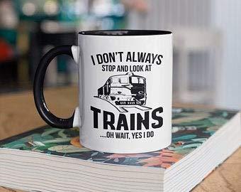 Lustige Zug-Tasse, Züge, Eisenbahn-Kaffeetassen, Zugbeobachtung, Geschenk, Geschenke für Zugleiter, Camp Tasse, Tumbler