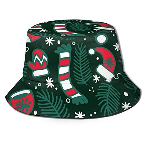 N/B Chapeau de pêcheur de Noël, écharpe, bonnet, gants et chaussettes pliables, réversible, unisexe, pour adulte, tendance, chapeau de pêcheur, chapeau de pêcheur pour l'extérieur, de nombreux motifs
