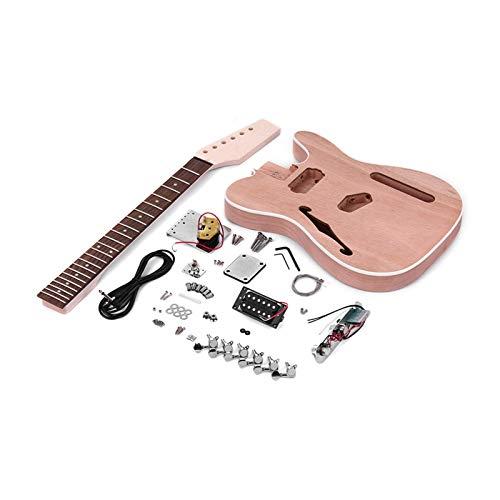 Guitarra de bricolaje para adultos para principiantes infantiles Sin terminar guitarra eléctrica DIY Kit de cuerpo de caoba con F del agujero de sonidos, mástil de arce, diapasón de palisandro