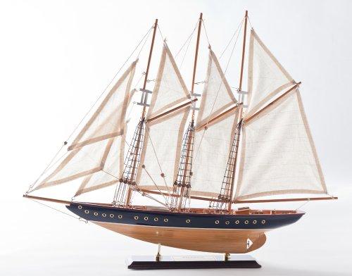 Atlantik Segelschiff Segeljacht Modell Modellschiff Holz Standmodell Maritime Deko (Länge ca. 60 cm)