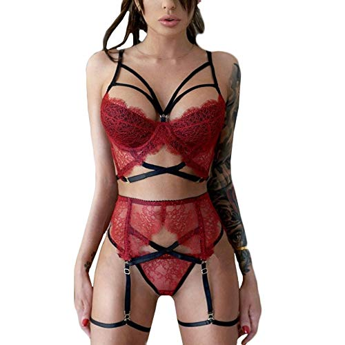 FunDiscount Women Lingerie Set with Garter Belts, Sexy Lace Bra and Panty Underwear Babydoll Teddy Strap Bodysuit Nightwear Outfit M-3XL(Red,Medium)