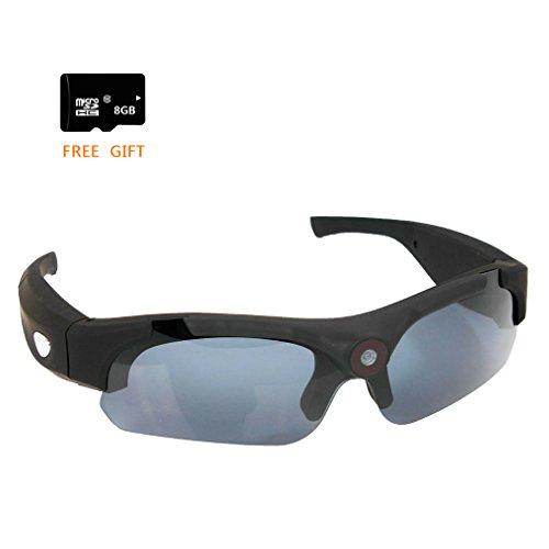 Vídeo Cámara Gafas de sol+Tarjeta SD de 8GB, Zimingu HD 1080P 8MP Grabación Gafas Videocámara gafas DVR Videocámara de 120 Grados Para Conducir Deportes al Aire Libre(negro)