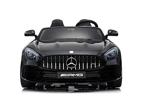 ES-TOYS Kinderfahrzeug - Elektro Auto Mercedes GT R Doppelsitzer - lizenziert - 12V10AH, 2 Motoren- 2,4Ghz Fernsteuerung, MP3, Ledersitz+Eva (Schwarz)