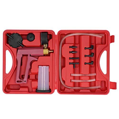 Yctze Probador de Bomba de presión de vacío, Herramienta de Bomba de presión de vacío de Mano al vacío, Kit de Purga de Frenos con Caja de Herramientas para Coche