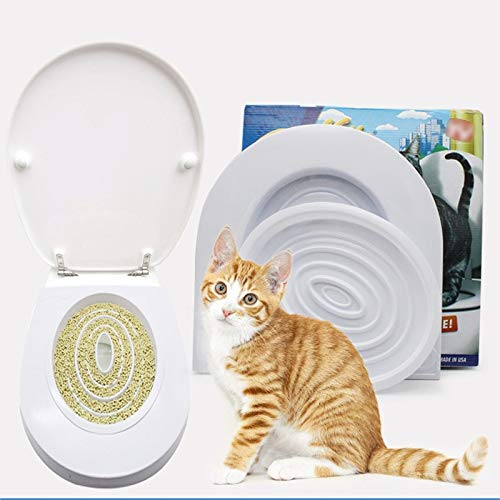 Best Quality - Cat Litter Boxes - pet cat toilet seat training kit plastic puppy litter potty tray pets cleaning supplies healthy pet cats human toilet 2019 new - by Melissa - 1 PCs