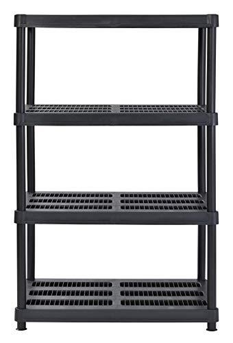 Juggernaut Storage 36'W x 24'D x 56'H 4-Shelf Resin Shelving, 600 lb Capacity Black