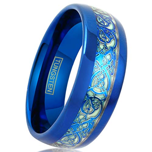 King's Cross Personalized Engraved Awesome Glow in The Dark 8mm Royal Blue Low Dome Tungsten Carbide Band Style Ring w/Matching Blue Celtic Dragon Inlay. (9.5)