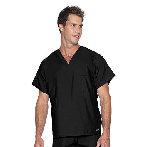 Landau Standard Reversible 1-Pocket Classic Relaxed Fit Durable V-Neck Medical Scrub Top 7502, Black, Large