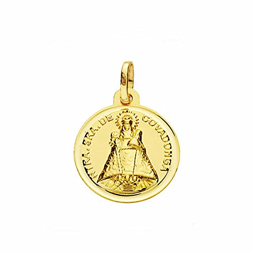 Medalla Oro 18K Virgen De Covadonga 16mm. Lisa Bisel [Aa2577]