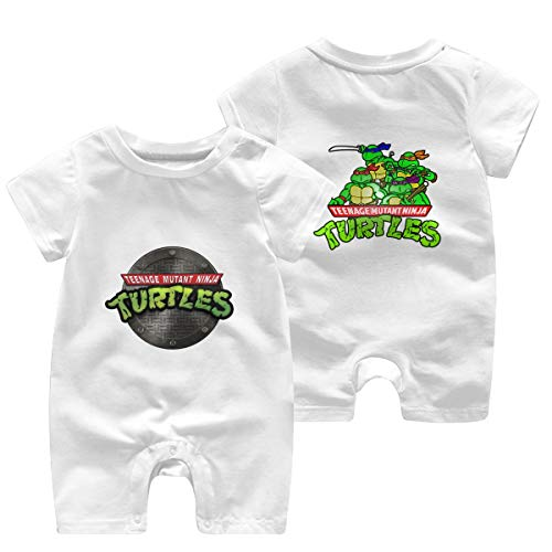 Mutant-Ninja Turtles Newborn Baby Shortsleeve Body Suits Cotton Jumpsuit White 03 Months