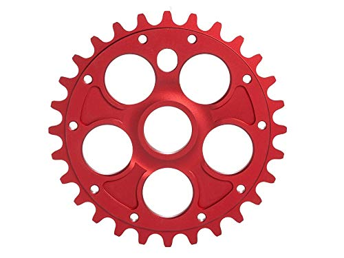 RMD BIKE CO. Unisex– Erwachsene Alpha kettenblatt BMX MTB Dirt | 23T 25T 28T | Schwarz und Rot | Made in EU |, red
