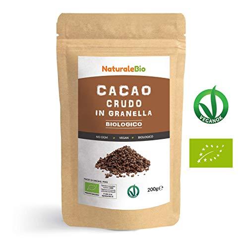 Granella di Cacao Crudo Biologico da 200g. 100% Bio, Naturale e Puro. Prodotto in Perù dalla Pianta Theobroma Cacao. Superfood Ricco di Antiossidanti, Minerali e Vitamine. NATURALEBIO