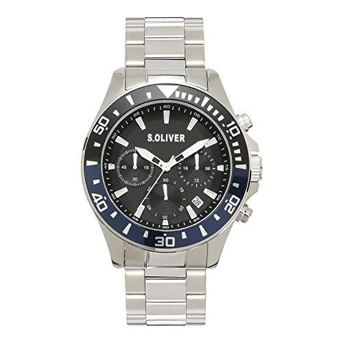 s.Oliver Herren Analog Quarz Uhr mit Edelstahl Armband SO-4237-MC