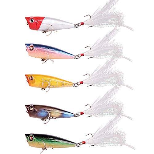 Alwonder 5pcs/Box Bass Popper Lure, Fishing Topwater Lures Feathered Treble Hooks Roostertail Lures Fishing Plugs Hard Baits