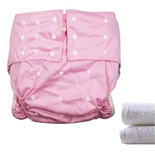LukLoy Dames Volwassenen Doekluiers voor heren met 2 Stuks Inserts voor Incontinence Care Beschermend Ondergoed Wasbaar Verstelbaar Herbruikbaar Lekvrij voor Taille Grote Maat 65 cm ~ 135 cm roze