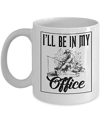 N\A Tasse de pêche - Je Serai dans Mon Bureau drôle de Glace Basse Mouche Poisson Voyage Tasse de café Cadeau pour pêcheur Mari Hommes Papa Grand-père,