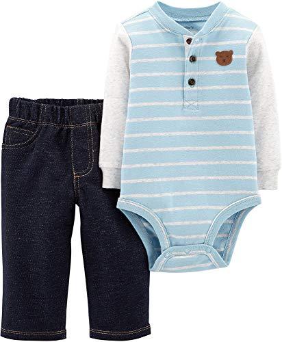 Conjunto de 3 Peças Carter's para Meninos Bebê Moleton Inverno (9 meses, Ursinho Azul Claro)