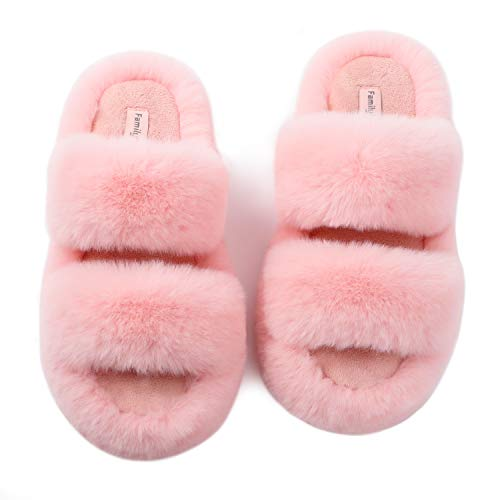 FamilyFairy Women's Fluffy Faux Fur Slippers Comfy Open Toe Two Band Slides with Fleece Lining and Rubber Sole (X-Large / 11-12, Pink)