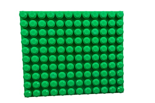 Strictly Briks Beginner Briks Baseplate 12.5' x 15' 100% Compatible with Mega Bloks First Builder Blocks | 10X12 Large Pegs for Toddlers | Single Tight Fit Stackable Base Plate | Green