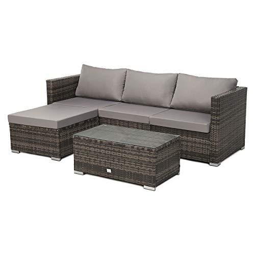 SVITA Queens Poly Rattan Sitzgruppe Couch-Set Ecksofa Sofa-Garnitur Gartenmöbel Lounge Schwarz, Grau oder Braun (Braun)