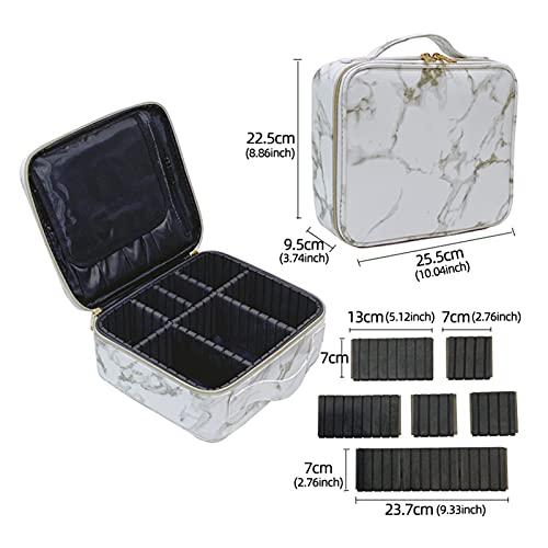 Mármol Cosmetic Bag Partition Multi Funcional Portátil Caja de Maquillaje de Almacenamiento (Color : PU Marble White)
