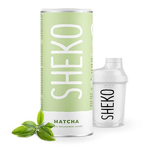 SHEKO Matcha Latte Mahlzeitersatz mit Shaker | 25 Portionen Matcha Latte Pulver ohne Zucker Zusatz | Auch als Proteinshake oder als Abnehm Shake