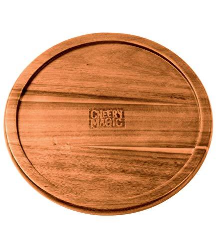 CHEERYMAGIC 10 Lazy Susan Acacia Wood Turntable with Durable Metal Bearing B10101-10