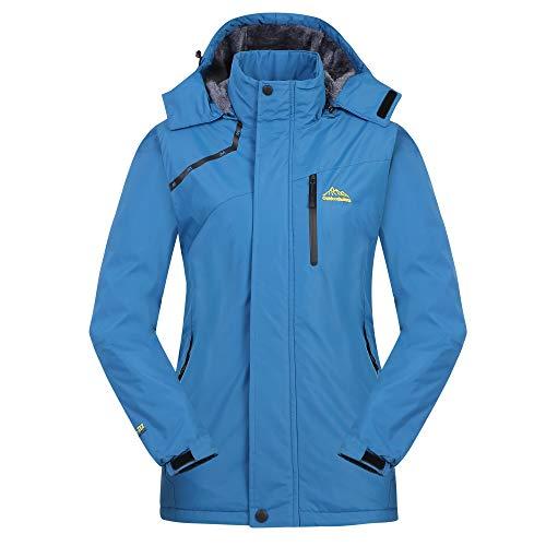 Cycorld Damen Skijacke Winter Outdoor Jacke, Wasserdicht Winddicht Warm Fleece Innen Kapuzenmantel (Blau, 2XL/cm (Büste:131-136))