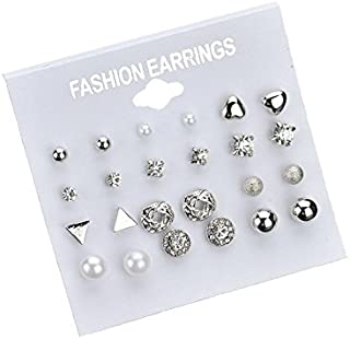 Auch 12 Pairs Dainty Crystal Pearl Stud Earrings in One Set, Silver