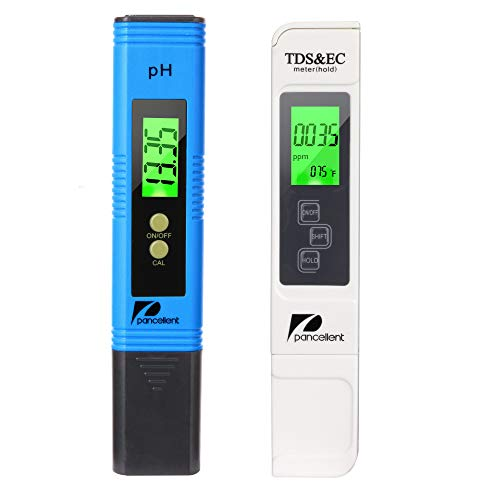 Pancellent PH Messgerät, PH TDS EC und Temperatur 4 in 1 Set, Wasserqualität Tester(ATC) für Trinkwasser/Schwimmbad/Aquarium/Pools, Leitwertmessgerät mit hoher Genauigkeit und LCD Display (Blau)