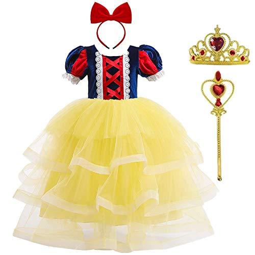 OBEEII Disfraz de Blancanieves Niña Vestidos Traje Costume de Carnaval 4 Piezas Diadema Corona y Varita de Hadas. Amarillo 3-4 Años