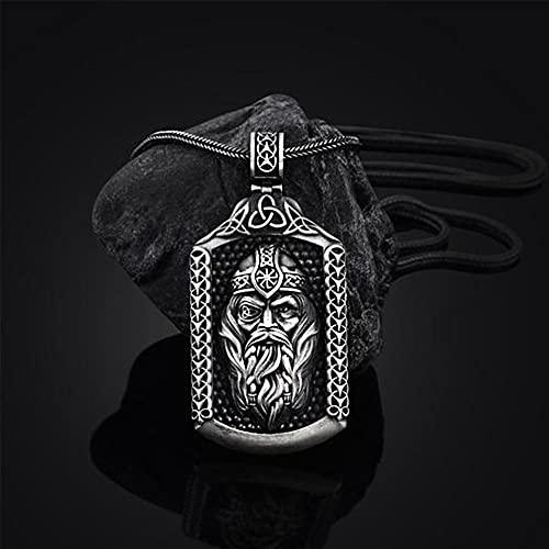 NDYD Collar De Estaño Puro De Viking Odin para Hombre, Joyería con Colgante De Hacha Y Runa, Colgante De Odin Pirata, Amuleto Nórdico, Joyería Étnica,Odin